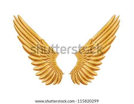 golden wings - stock vector