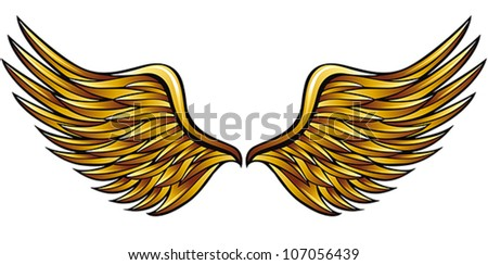 Golden wings made in classic heraldic style, vector illustration. - stock vector