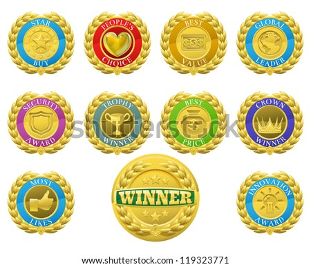 Golden winners medals like those used for product or consumer reviews or tests or for product descriptions - stock vector