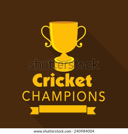 Golden Winning Trophy For Cricket Champions On Brown Background