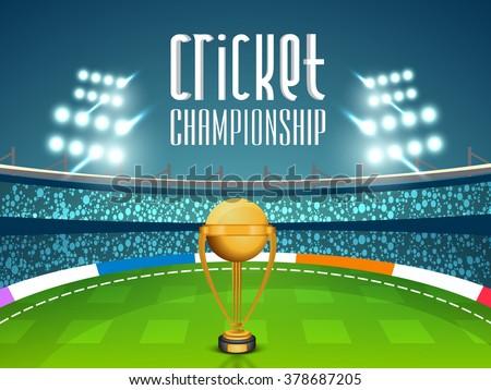 Golden Winning Trophy on night stadium lights background for Cricket Championship concept. - stock vector