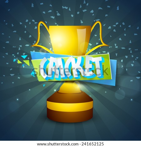 Golden winning trophy with 3D text Cricket on stylish rays background. - stock vector