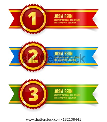 Golden with red medals, first, second and third place, vector illustration - stock vector
