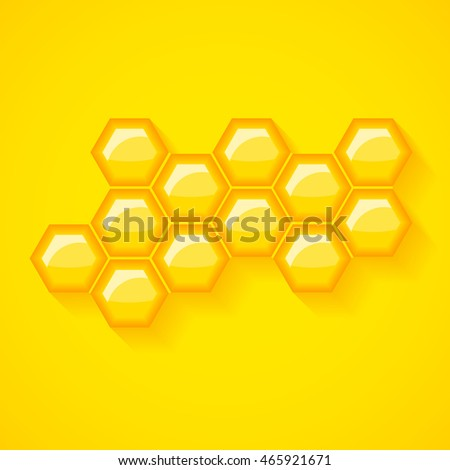 Golden yellow honeycomb vector background. Shiny honey wax cells vector illustration.