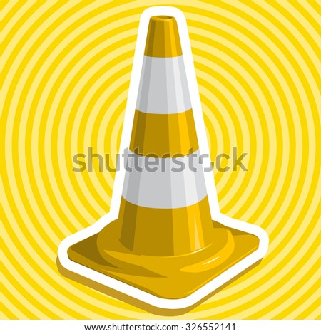 Golden yellow nice traffic cone with outline with white stripes useful sign master vector