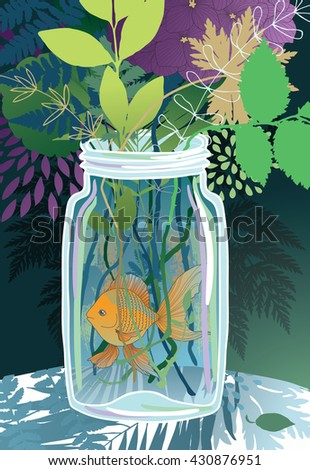Goldfish in a glass jar with flowers - stock vector