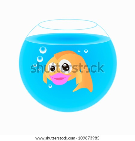 Goldfish in an aquarium isolated on white background - stock vector