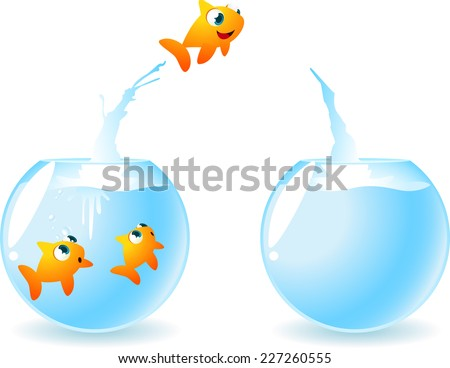 Goldfish in need of space. Little fish jumping from a fish-bowl to another fish-bowl, leaving in the first one two fish friends. Vector illustration.  - stock vector