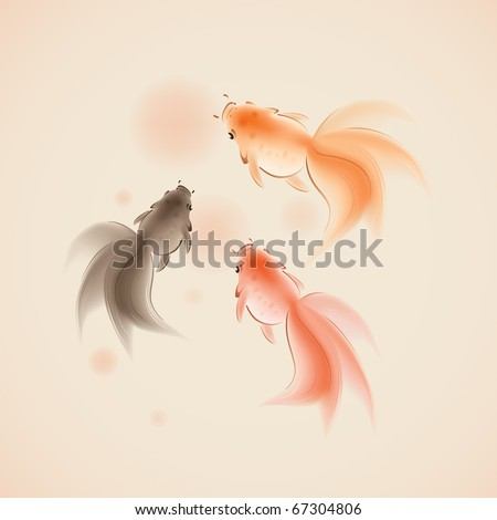 goldfish in oriental style painting, symbolize wealth and harmony. - stock vector