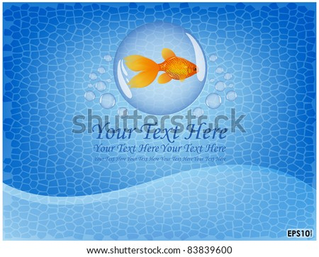 Goldfish is located on a blue background and admitting bubbles - stock vector