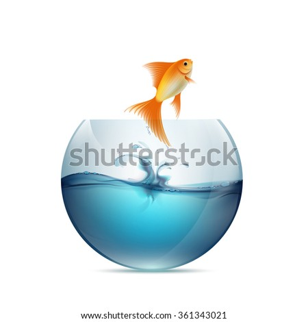 Goldfish jumping from the aquarium. Isolated on white background. Stock vector illustration.