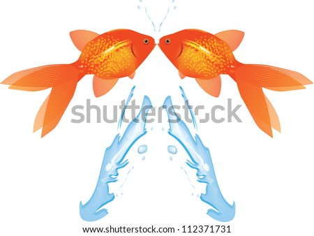 Goldfish Leaping from water,Vector EPS10 - stock vector