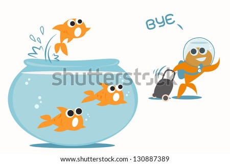 Goldfish leaving tank, eps10 vector - stock vector