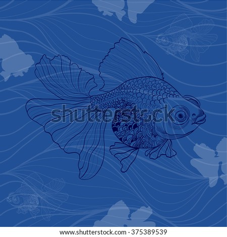Goldfish - linear pattern. Seamless vector background.