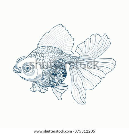 Goldfish - linear pattern. Vector image on white background.