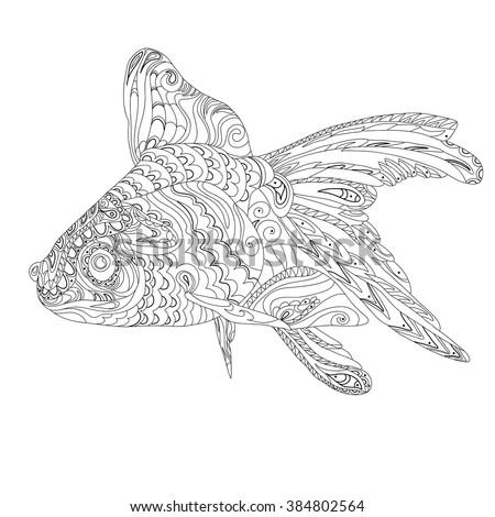 Goldfish Vector Zentangle Stylized Cartoon Goldfish Stock ...