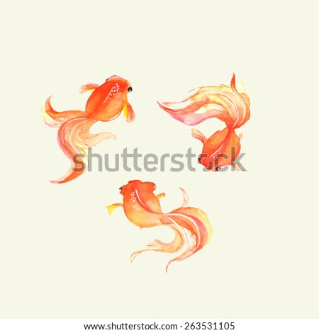 Goldfish. Watercolor. Hand drawn illustration in vector