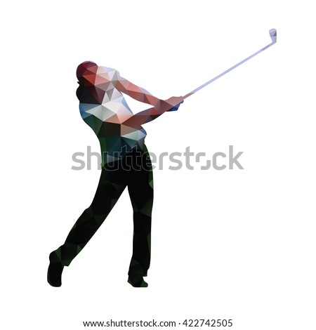Golf. Abstract geometric golf player. Polygonal golfer silhouette. Summer sport