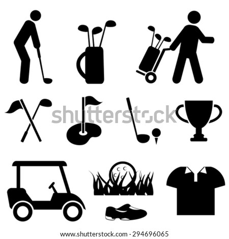 Golf and golf player icon set
