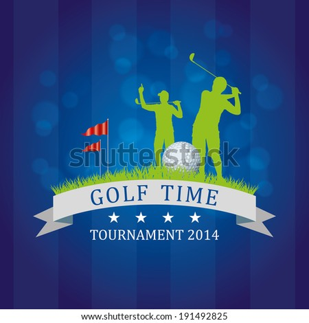Golf Background with players and field - stock vector