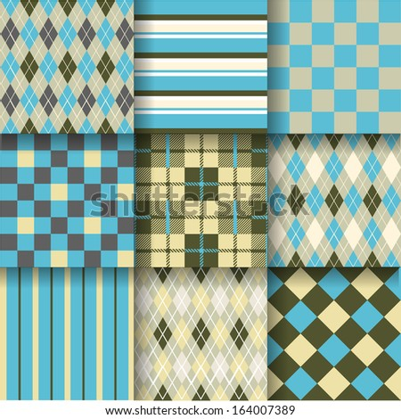 Golf backgrounds. Seamless pattern background with blue, yellow and grey colors. Vector illustration. Pattern Swatches made with Global Colors - quick, simple editing of color - stock vector
