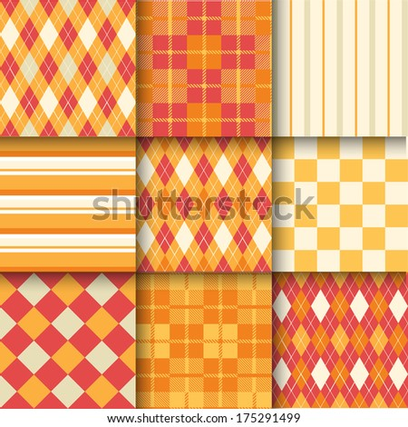 Golf backgrounds. Seamless pattern background with orange, red and yellow color. Vector illustration. Pattern Swatches made with Global Colors - quick, simple editing of color - stock vector
