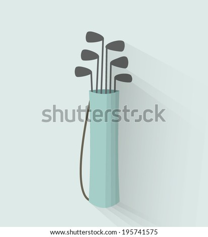 golf bag in a flat style with shadow - stock vector