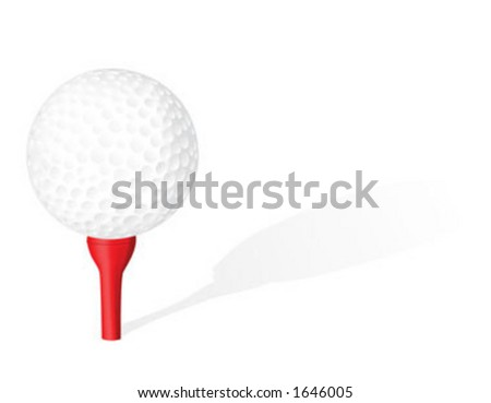 Golf ball and tee - vector
