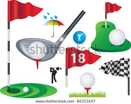 Golf ball, flags and golfing design elements some use gradient mesh - stock vector