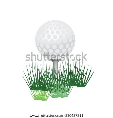 Golf ball, golf ball isolated, golf tee, golf ball on tee - stock vector