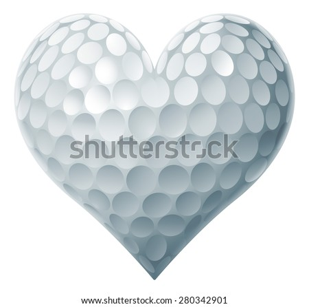 Golf Ball Heart concept of a heart shaped golf ball symbolising the love of golf.  - stock vector