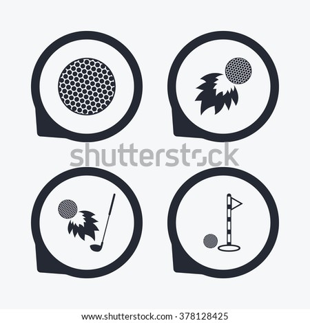Golf ball icons. Fireball with club sign. Luxury sport symbol. Flat icon pointers. - stock vector