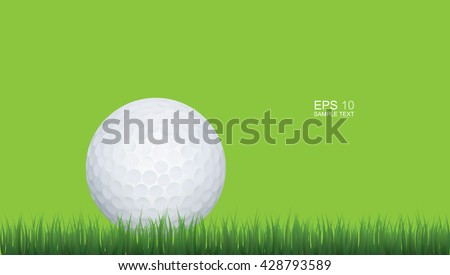 Golf ball in green grass of golf course with green background. - stock vector