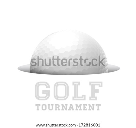 Golf ball in hole. Vector illustration on white - stock vector