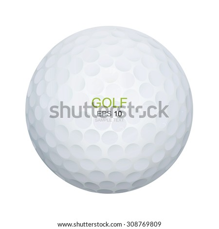 Golf ball isolated on white background. Vector illustration. - stock vector