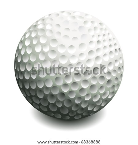 Golf ball isolated on white. Vector illustration. - stock vector