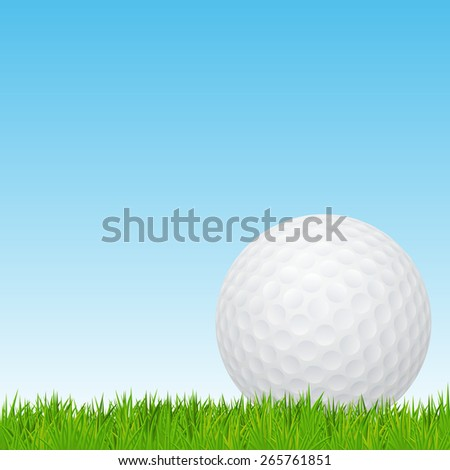 Golf ball on a green grass. Vector EPS10 illustration.  - stock vector