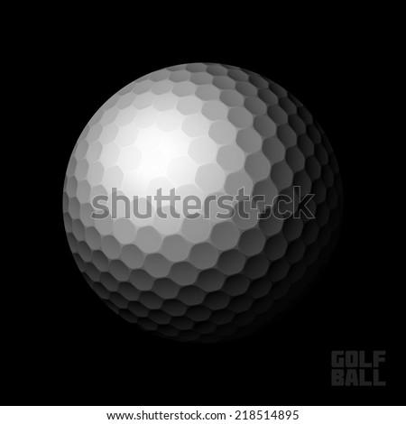 Golf ball on black background. Vector illustration. - stock vector
