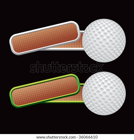 golf ball on colored tilted banners - stock vector