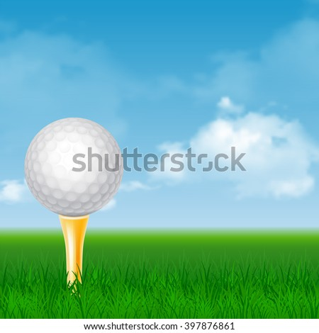 Golf Ball on Golden Tee and Green Grass at Sunny Day. Realistic Vector Illustration.