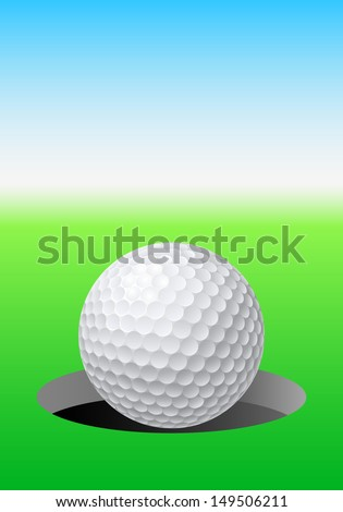 Golf ball on golf course. Illustration for design - stock vector