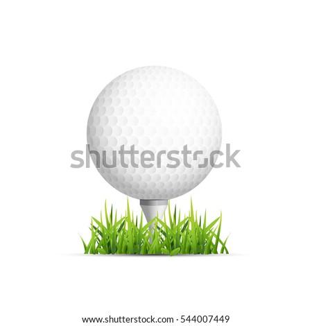 Golf ball on grass. Vector design.
