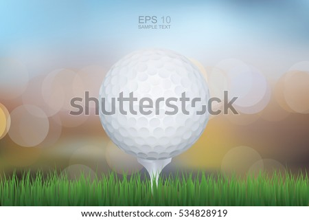 Golf ball on green grass with lights blurred bokeh background. Vector illustration.