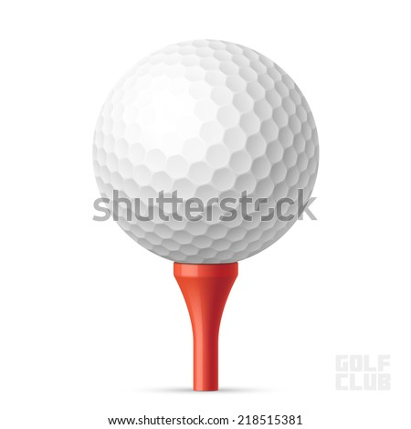 Golf ball on red tee. Vector illustration. - stock vector