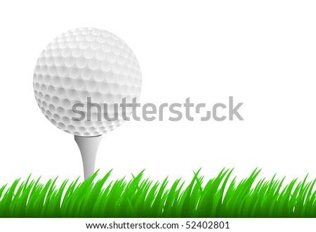 Golf ball on tee on white background and green grass - stock vector