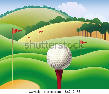 Golf ball on the background of green hills. Editable vector illustration. - stock vector