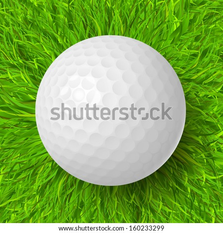 Golf ball on the green grass realistic vector illustration - stock vector