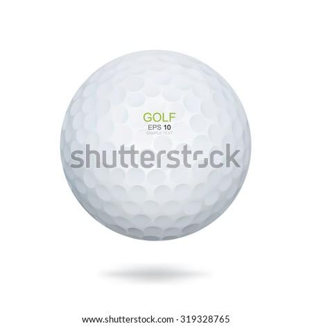 Golf ball on white background. Vector illustration. - stock vector