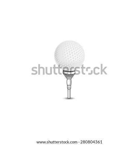 Golf ball on white tee realistic vector illustration isolated. Vector golf ball isolated on white. Golf tee of Engraving style with ball