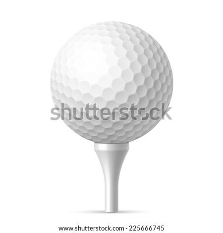 Golf ball on white tee. Vector illustration. - stock vector